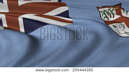 3D illustration of Fiji flag fluttering in light breeze