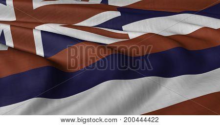 3D illustration of Hawaii flag fluttering in light breeze