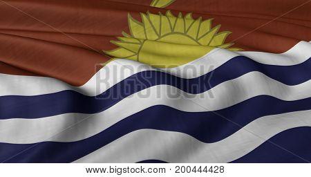3D illustration of Kiribati flag fluttering in light breeze