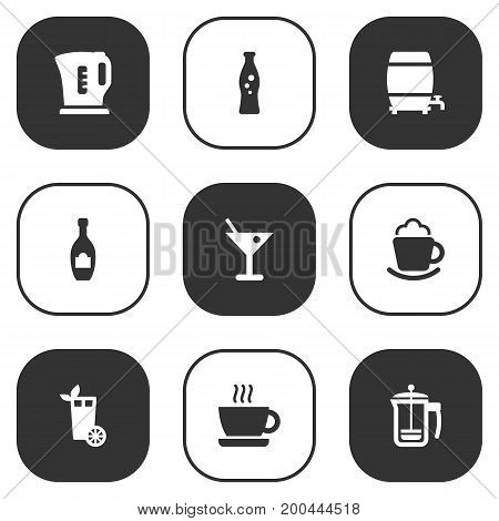 Collection Of Pot, Alcohol, Lemonade And Other Elements.  Set Of 9 Beverages Icons Set.