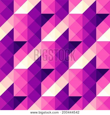 Seamless geometric pattern. Magenta Hounds-tooth pattern in a piaxel art and lowpoly style.