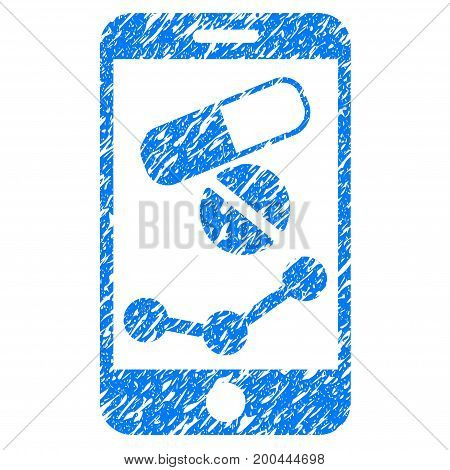 Grunge Pharmacy Online Report icon with grunge design and dust texture. Unclean vector blue pictogram for rubber seal stamp imitations and watermarks. Draft sign symbol.