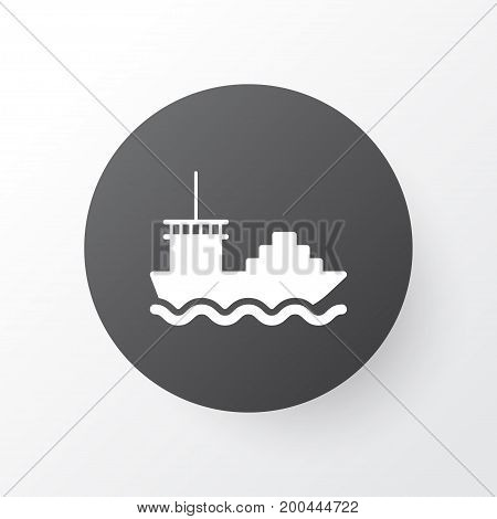 Premium Quality Isolated Cargo Boat Element In Trendy Style.  Tanker Icon Symbol.