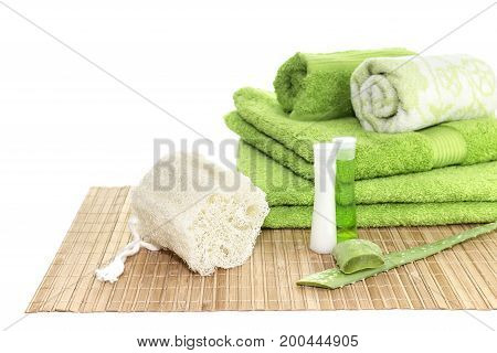 Personal hygiene items, towels on a table close-up