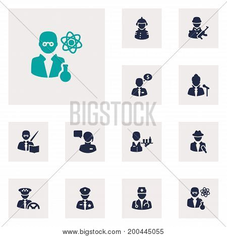 Collection Of Medic, Officer, Scholarly And Other Elements.  Set Of 12 Job Icons Set.