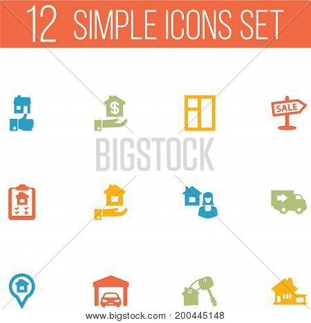Collection Of Hypothec, Real Estate Agent, Home And Other Elements.  Set Of 12 Property Icons Set.