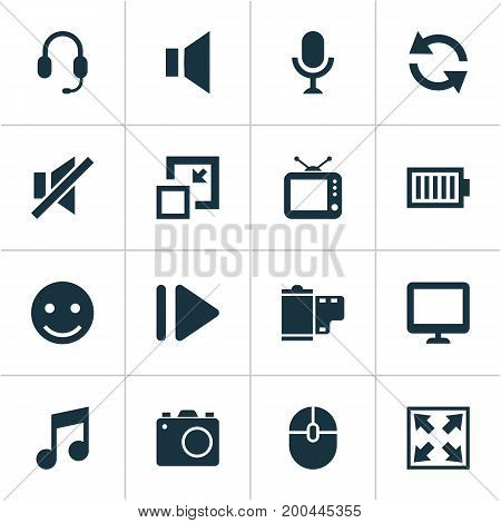 Multimedia Icons Set. Collection Of Musical Note, Enlarge, Silence And Other Elements