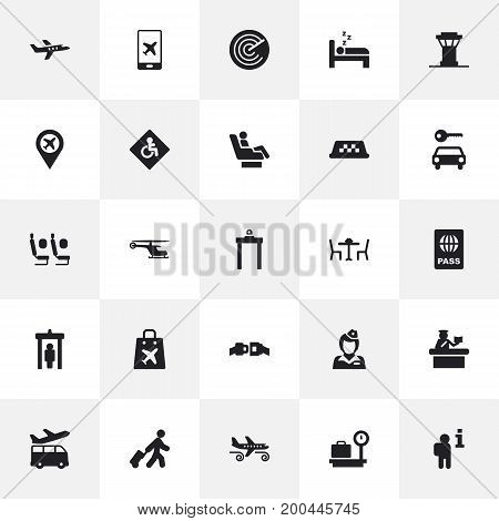 Collection Of Restaurant, Buckle, Aircraft And Other Elements.  Set Of 25 Plane Icons Set.