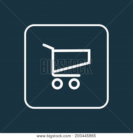Premium Quality Isolated Cart Element In Trendy Style.  Shopping Outline Symbol.