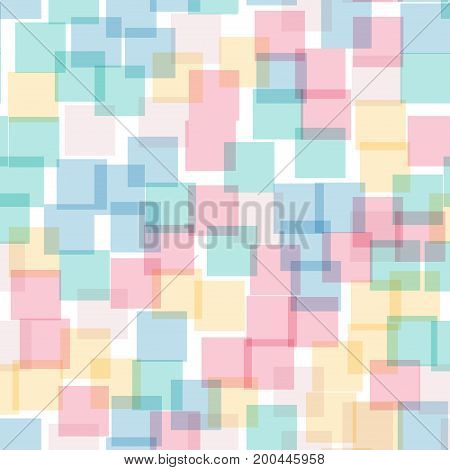 Abstract Squares Pattern. White Geometric Background. Stunning Random Squares. Geometric Chaotic Dec