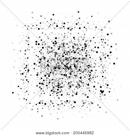 Dense Black Dots. Square Shape With Dense Black Dots On White Background. Vector Illustration.