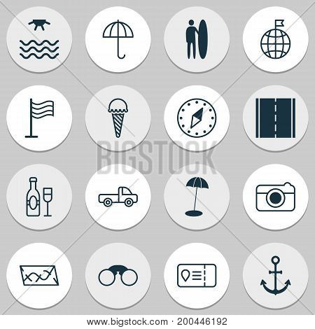 Tourism Icons Set. Collection Of Trip Access, Ship Hook, Cardinal Direction And Other Elements