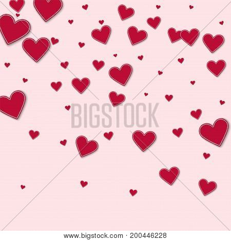 Cutout Red Paper Hearts. Top Gradient On Light Pink Background. Vector Illustration.
