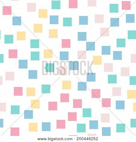 Abstract Squares Pattern. White Geometric Background. Pretty Random Squares. Geometric Chaotic Decor