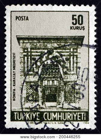 TURKEY - CIRCA 1968: a stamp printed in the Turkey shows Karatay Medresse University Gate Konya circa 1968