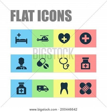 Antibiotic Icons Set. Collection Of Healer, Dental , Bandage Elements