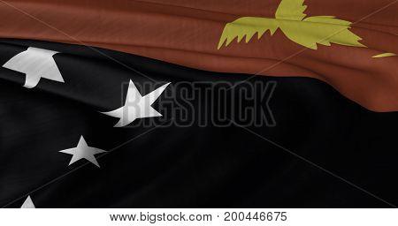 3D illustration ofPapua New Guinea flag fluttering in light breeze