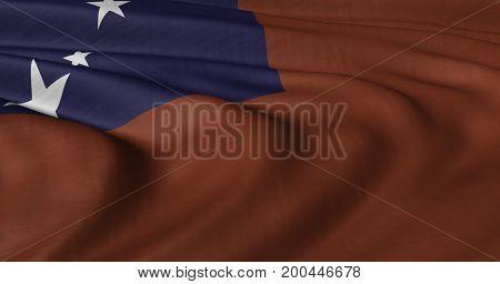 3D illustration of samoa flag fluttering in light breeze