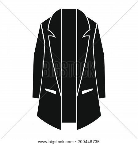 Man overcoat in black simple silhouette style icons vector illustration for design and web isolated on white background. Overcoat vector object for labels and logo