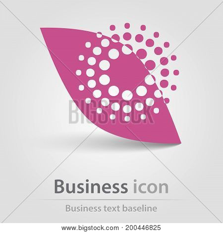 Originally created business icon with purple leaf and halfdotted object