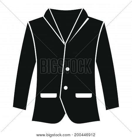 Man jacket in black simple silhouette style icons vector illustration for design and web isolated on white background. Man jacket object for labels and logo