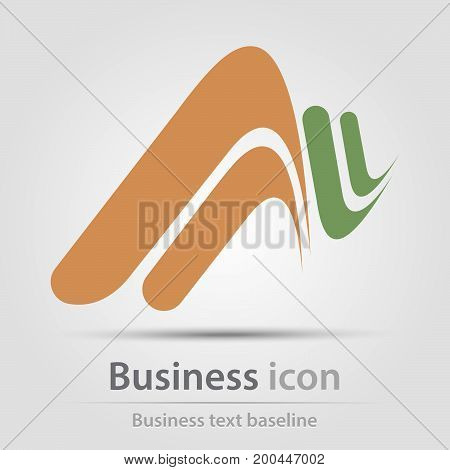 Originally created business icon with perspective wawes