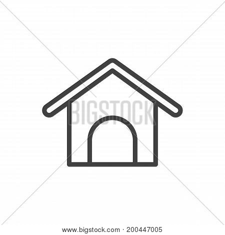Vector Kennel Element In Trendy Style.  Isolated Home Outline Symbol On Clean Background.
