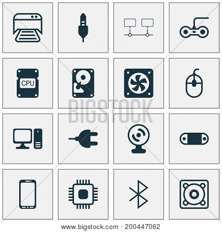 Computer Icons Set. Collection Of Cpu, Connector, Joystick And Other Elements