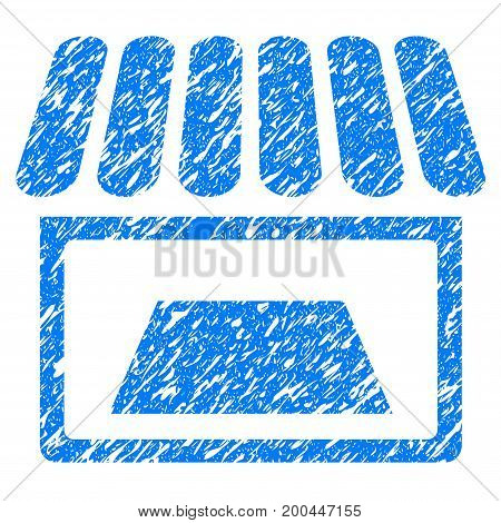 Grunge Shop icon with grunge design and unclean texture. Unclean vector blue pictogram for rubber seal stamp imitations and watermarks. Draft sign symbol.