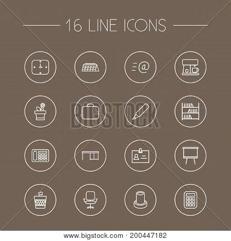 Collection Of Briefcase, Board Stand, Calculator Elements.  Set Of 16 Bureau Outline Icons Set.