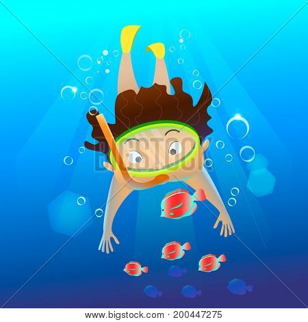 Cartoon character swimming underwater. Cute young free diver and yellow fish. Summertime. Summer sport.