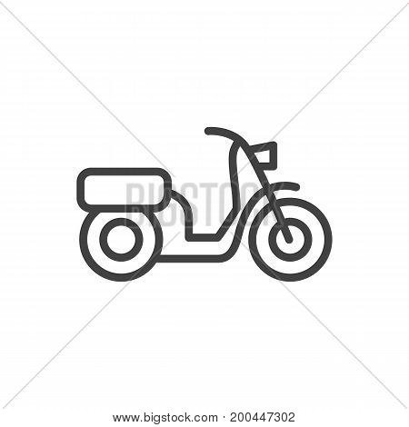 Vector Moped Element In Trendy Style.  Isolated Scooter Outline Symbol On Clean Background.