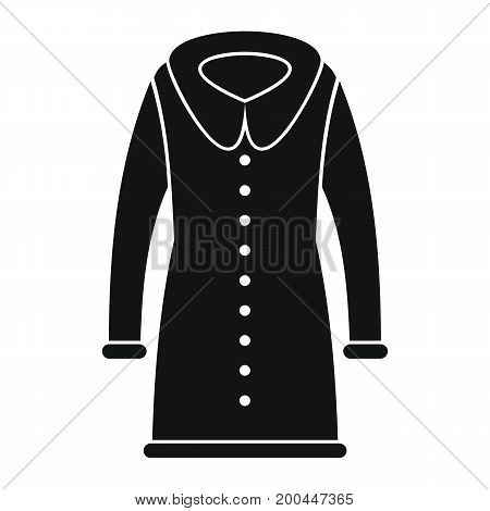 Coat fashion in black simple silhouette style icons vector illustration for design and web isolated on white background. Coat fashion vector object for labels and logo