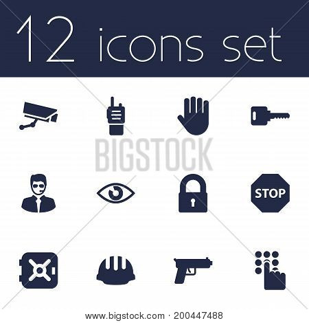 Collection Of Hand , Strongbox, Look Elements.  Set Of 12 Procuring Icons Set.
