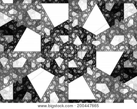 Trapezoids fractal texture black and white computer generated abstract background 3D rendering