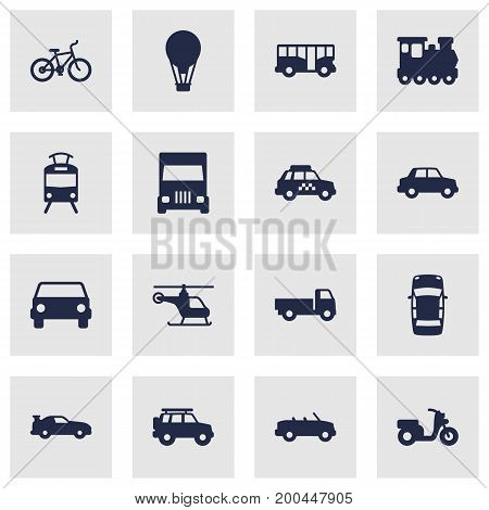 Collection Of Cabriolet, Coupe, Lorry And Other Elements.  Set Of 16 Transport Icons Set.
