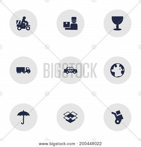 Collection Of Truck, Scooter, Parcel And Other Elements.  Set Of 9 Cargo Icons Set.