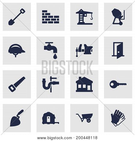 Collection Of Brick Wall, Gauntlet, Meter And Other Elements.  Set Of 16 Construction Icons Set.