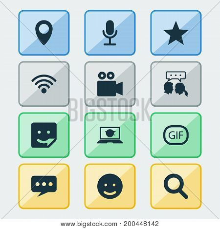 Internet Icons Set. Collection Of Message, Smile, Conversation And Other Elements