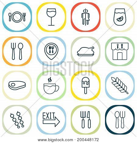 Cafe Icons Set. Collection Of Sorbet, Silverware, Lemonade And Other Elements