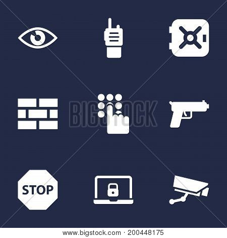 Collection Of Surveillance, Firewall, Walkie-Talkie And Other Elements.  Set Of 9 Safety Icons Set.