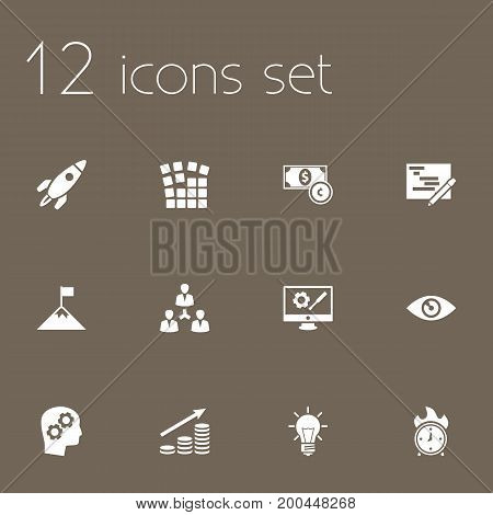 Collection Of Thinking Head, Writing, Achievement And Other Elements.  Set Of 12 Business Icons Set.