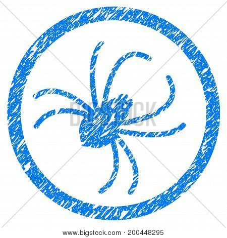 Grunge Spider icon with grunge design and dust texture. Unclean vector blue pictogram for rubber seal stamp imitations and watermarks. Draft emblem symbol.