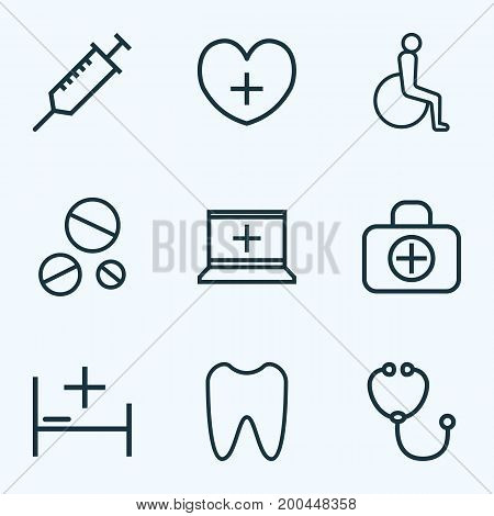 Antibiotic Outline Icons Set. Collection Of Stethoscope, Injection, Drug And Other Elements