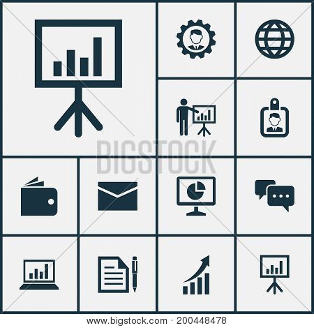 Business Icons Set. Collection Of Presentation Board, Leader, Presenting Man And Other Elements