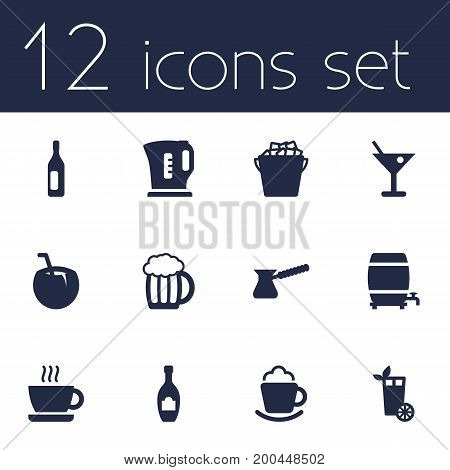 Collection Of Alcohol, Cup, Wine And Other Elements.  Set Of 12 Drinks Icons Set.
