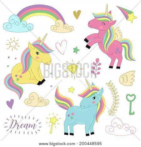 set  of isolated unicorns and elements part 1  - vector illustration, eps