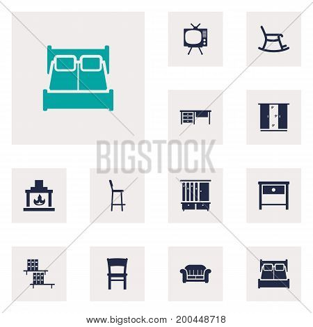 Collection Of Rocking Furniture, Bedside Table, Cupboard And Other Elements.  Set Of 12 Decor Icons Set.