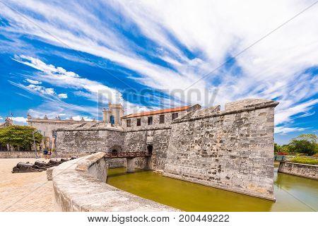 Castillo de la Real Fuerza Havana Cuba. Copy space for text