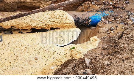 Background Dirty Waste Water. Breakthrough Urban Underground Utilities. Emergency Condition Of Water